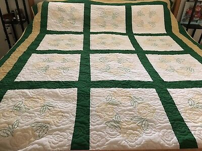 "Handmade Cross Stitch Floral Quilt Yellow Green  80"" x 98"""