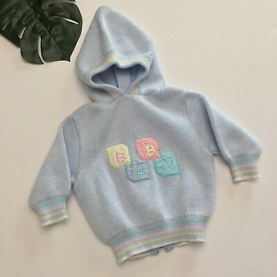 Vintage Baby Kisses Pastel Blue Acrylic Hooded Sweater Size 6-9 Months