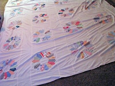1930's  1940's Dresden Plate Quilt Top Feed Flour  Sack  91 x 110  +  Backing