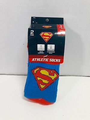Superman socks Kids S/M Shoe Size 9-3 2 pairs Athletic child's Red White Blue
