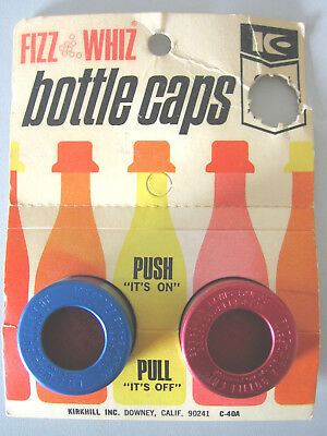 Fizz Whiz Bottle Caps Made In USA Set of 2 in Original Pack 1950's
