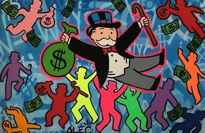Alec Monopoly Handcraft Oil Painting on Canvas ,Original mixed media on canvas
