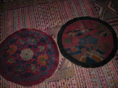 Fall Sale! Pair Of 3 Foot Round Antique Chinese Art Deco Rugs