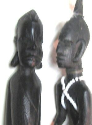 "(pgasteelers1)Hand Carved pair Kenya ebony Wooden figures 11"" &12""  Very Nice"
