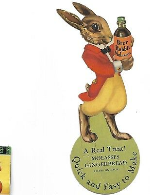 Scarce 10-47 Brer Rabbit Molasses Bottle Topper Approx. 8 Inches Tall X 4 Inches