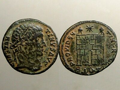 CONSTANTINE THE GREAT BRONZE AE3___Campgate with Two Turrets____SAND PATINA