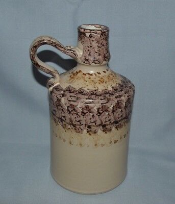 Vintage Beautiful Pottery Jug With Handle -  Colors Of Beige & Browns 7 1/2 Tall