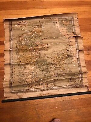 Vintage Wear And Tears Decorah Postens DENMARK Map Collectible Map