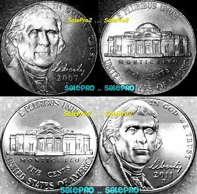 4x USA 2007 P 2011 P UNITED STATES OF AMERICA LIBERTY US NICKEL 5 CENT COIN LOT