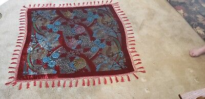 Beautiful Old Piano Scarf Or Wrap Velvet Beaded Red Fringe