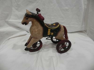 GU - Wooden Hand Carved Folk Art Horse Tricycle Decoration