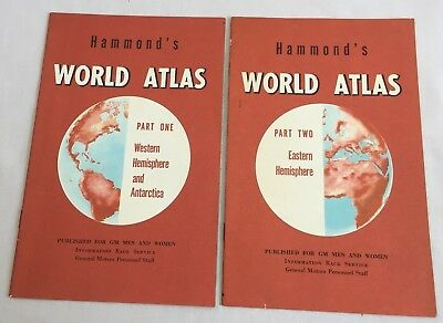 Vintage HAMMOND'S WORLD ATLAS Parts 1 & 2 for General Motors Personnel MAP 2243