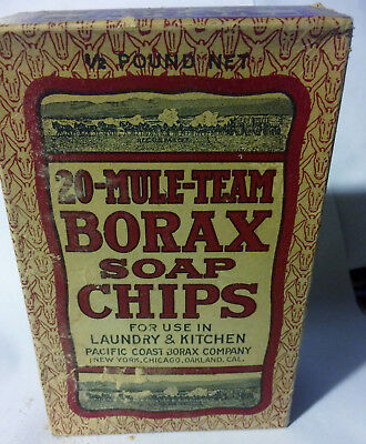 Vintage 1900's 20 Mule Team Borax Soap Chips Unopened 1/2 Pound Box