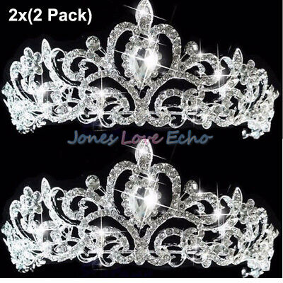 2 X Bridal Princess Austrian Crystal Tiara Wedding Crown Veil Hair Accessory US