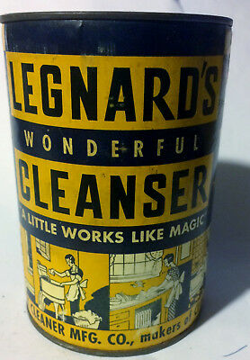 Vintage 1936 Legnard's Wonderful Cleanser Unopened 14 Oz Tin Climax Cleaner Mfg
