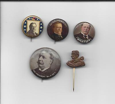 President William H. Taft Presidential 5 piece lot political pins buttons
