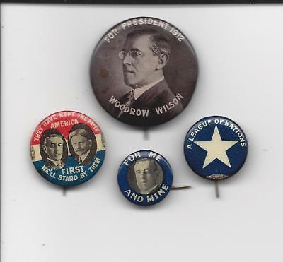 President Woodrow Wilson Presidential 4 piece lot political pins buttons