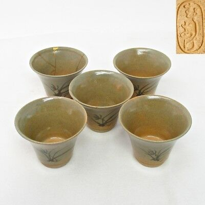 H172 Japanese five teacups of MUSHIAKE pottery with painting for SENCHA