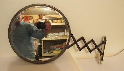 Antique Beveled Shaving Mirror Wall Accordian Scissor Extendable Arm Barber Shop