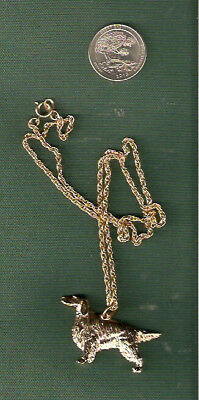 """Irish or English Setter Gold Plated Necklace Pendant 20"""" Chain Jewelry"""
