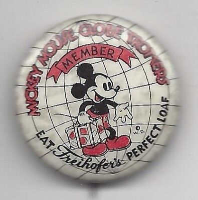 Mickey Mouse Freihofer's Perfect Loaf Disney pin button Globe Trotters Kay Kamen