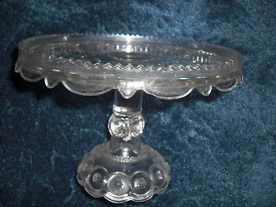 Vintage L.E. Smith Clear Glass Moon & Star Pattern Cake Stand Plate w/ Rum Well