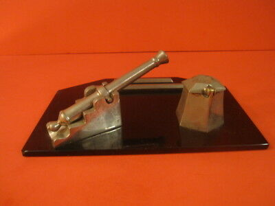 Large Inkwell With Nickel Plated Cannon And Tent On Black Marble Base Ww1