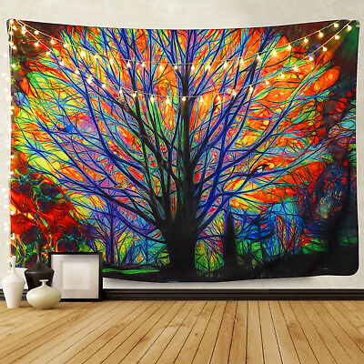 Large Autumn's Tale Tapestry Colorful Tree Tapestry Room Decor Wall-Hanging US
