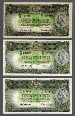 Commonwealth of Australia 1953-61 Coombs/Wilson One Pound Banknotes R33/R34