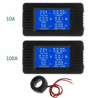 6in1 Digital AC 80~260V Power Energy Voltage Monitor Current KWh Watt Meter 100A