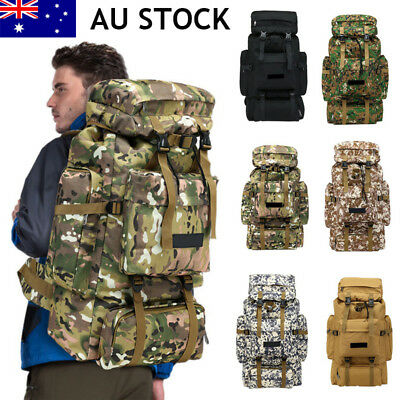 70L Outdoor Hiking Camping Bag Army Military Tactical Rucksack Backpack Trekking