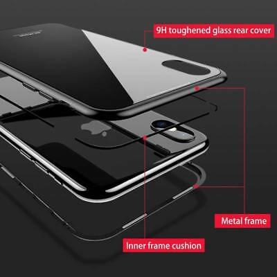 Magnetic Absorption Metal + Tempered Glass Case Cover For iPhone XS XR XS-Max