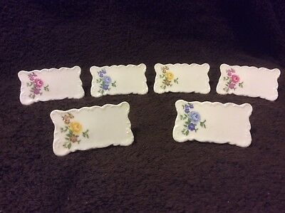 Vintage La Fleur - Ceramic Place Cards 6 Blue Yellow Red Flowers