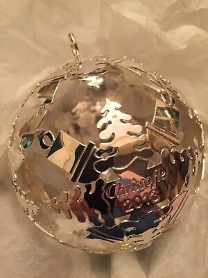 CHRISTOFLE 2013 SILVER PLATE CUT OUT CHRISTMAS ORNAMENT BALL w/RED SATIN RIBBON
