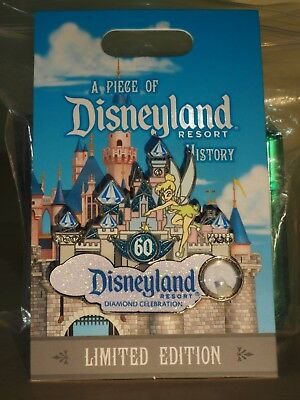 DLR Pin Piece of Disneyland History 60th ANNIVERSARY Castle TINKER BELL