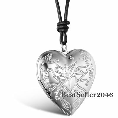 Floral Love Heart Charm Photo Picture Locket Pendant Cord Necklace Womens Gift