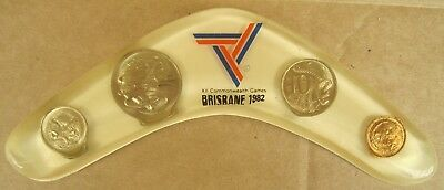 1982 XII Commonwealth Games Brisbane Boomerang With 4 Coins