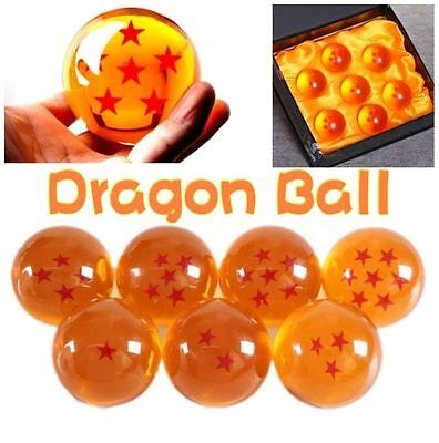 7pcs JP Dragon Ball Z Stars Crystal Ball Collection Set with Anime Gift Box 35mm