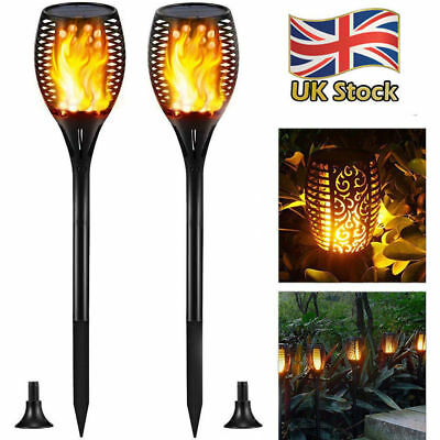 2 Pack Flame Solar Torch Light Warm white LED Flickering Outdoor Garden Lamp
