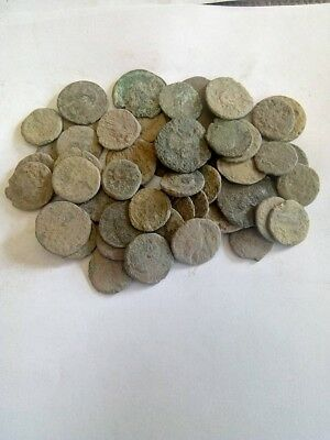 001.Lot of 55 Ancient Roman Bronze Coins,Uncleaned