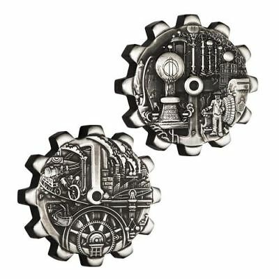 Evolution of Industry 2 x 1 oz Silver Gear-Shaped Two-Coin Set Tuvalu 2018
