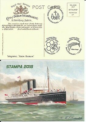 2018 Ireland STAMPA DUBLIN 3 special cancels on special postcard R.M.S. Leinster