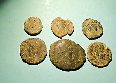 An Interesting Selection of Six Roman coins for Research and Identification.