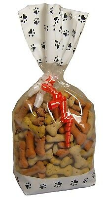 50 x DOG CAT PAW PRINT Block Bottom Clear Cellophane Sweet Gift Bags - LARGE