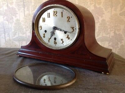 Antique Mantle Clock Inlaid Case Oval Face Westminster Chime ToRepair 42x22x17cm