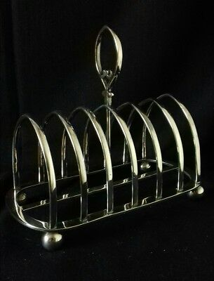 Antique Art Nouveau Silver Plated Ball Footed Toast Rack by James Dixon & Sons