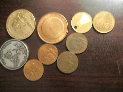 LOT OF 9  VINTAGE NASA  Coins Tokens Apollo Space Astronaut 1ST MOON LANDING