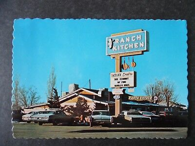 ca1970 Gallup New Mexico Ranch Kitchen Restaurant & Cars Route 66 Postcard