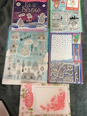 Job Lot Of Craft Items. Christmas Stamps, Dies, Embossing Folder.