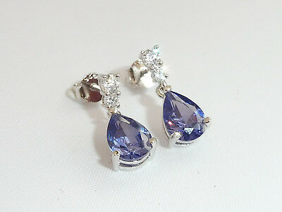Ladies 1.2 Carat Tanzanite and White Sapphire Sterling 925 Silver Drop Earrings
